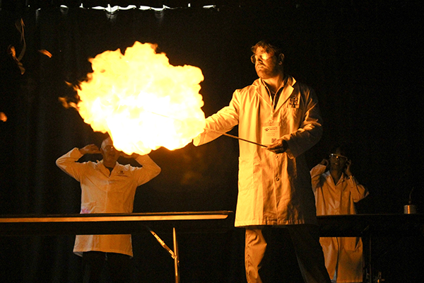 Teacher experimenting with fire