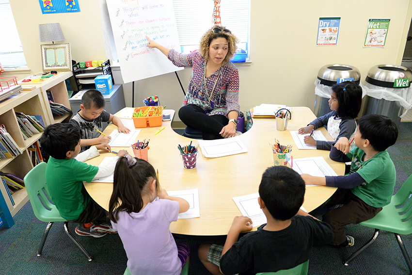 Preschool TK teacher teaching students